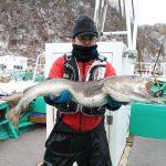 札幌市の荒井さんが釣った真ダラ1m1cm